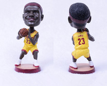 Soccerwe Bobblehead Doll 12cm Height Glass Fiber Resin 23 Lebron James Lovely Car Ornaments Decoration Birthday Christmas Gift(China)