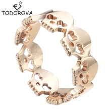 Todorova Gothic Men's Ring Skull Biker Zinc Alloy Male Ring for Women Personalized Punk Silver Gold Wedding Band(China)