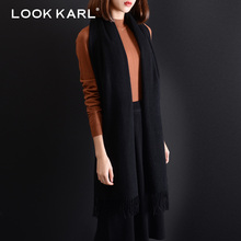 LOOK KARL 100% Cashmere Scarf Women Fashion Designer Winter Luxury Brand Long Warm Pashmina Shawl Wrap Scarves Black(China)