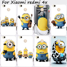 TAOYUNXI Cases For Xiaomi Redmi 4X 5.0 inch Cover Bags Hard Plastic Soft TPU Cell Phone Skin Yellow Lovely Minions Shell Hood