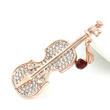 Factory Direct Sale High Quality Crystal Rhinestone Violin Brooch Pins for Lady(China)