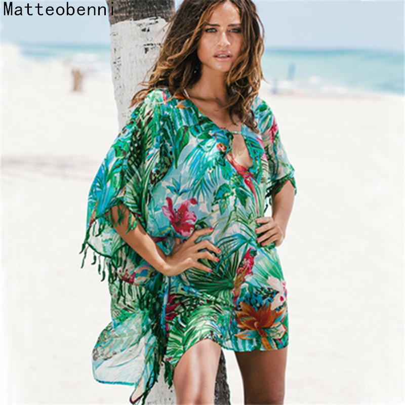 Women Print Pareo Beach Cover Up Chiffon Saida De Praia tunic Summer dress beach bikini cover up Swimsuit Kaftan Swim Beach Wear title=