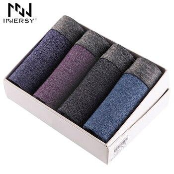 Innersy 2017 calcinha venda quente 4 pcs \ lote underwear modal de algodão boxer boxers dos homens sólidos boxer shorts plus size mens underwear lote
