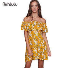 RichLuLu Floral Print Yellow Sexy Off Shoulder Women Dress Summer Brief Casual Dress Ladies Clothing Backless Frill Dress