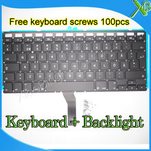 "Brand New SE Swedish Sweden keyboard+Backlight Backlit+100pcs keyboard screws For MacBook Air 13.3"" A1369 A1466 2010-2015 Years(China)"