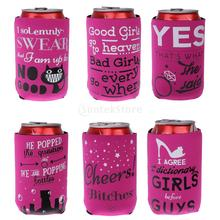 6pcs/Lot Stubby Beer Tin Can Cooler Sleeve Hen Night Bride to Be Girls Party Beer Wedding Party Favor Beer Soda Can Cooler(China)