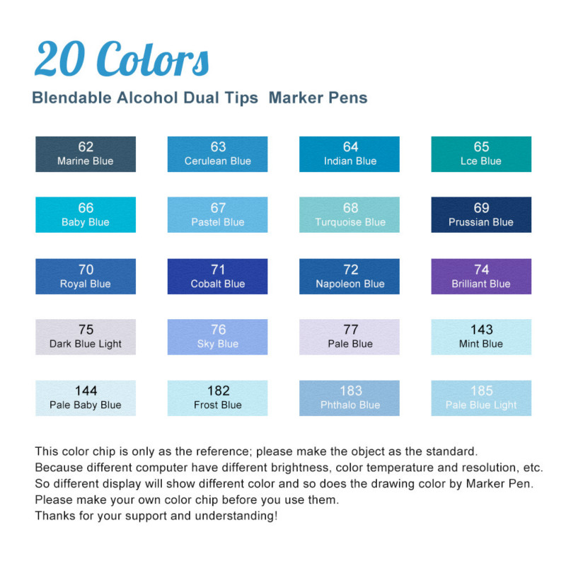 TOUCHNEW Marker Pen 20 Blue Colors Art Markers Double Head Sketch Pens Alcohol Based Ink Art Supplies Alcohol Markers Stationery