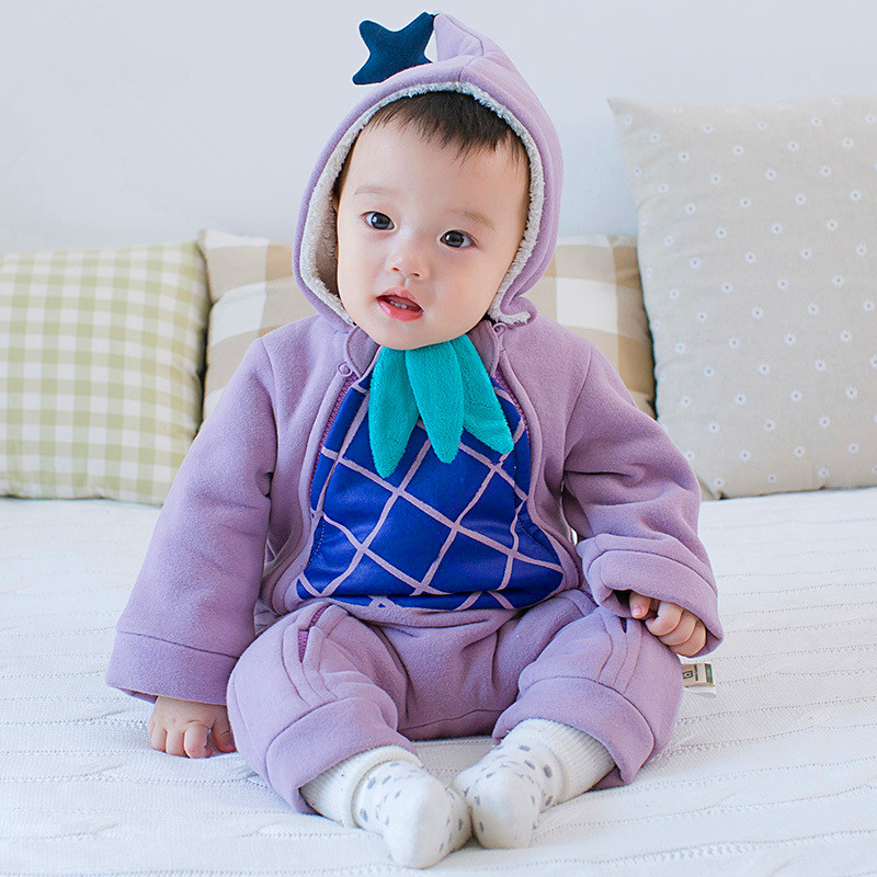 2016 Winter Newborn Baby Rompers pineapple print Hooded Fashion Baby Clothing Thick Cotton Baby Outfits Jumpsuit Infant<br><br>Aliexpress