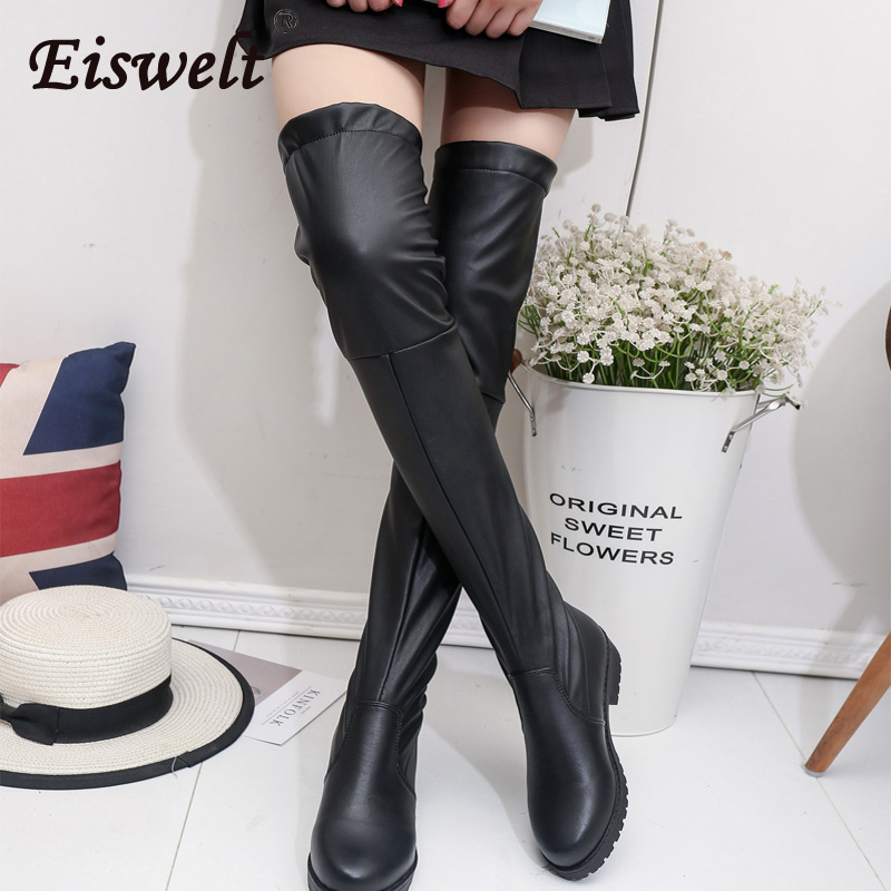 EISWELT Women Over The Knee Long Boots Slim Heel Shoes Winter Autumn Shoes fFashion Slip-on Lace-up Leisure Casual Boots#ZQS144<br>