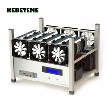 KEBETEME Compatible 6 GPU Open Air Mining Case Computer ETH Miner Frame Rig With 6 Fans And Temp Monitor System for Bitcoin ASIC(China)