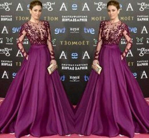 Blanca Suarez In Purple Long Sleeve Evening Gowns Louisvuigon Woman Celebrity Dress Red Cerpet Dresses
