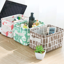 2281 fresh cotton and linen with sundry receive basket handle desktop small clothing fabric receive basket