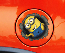 Despicable Me Minions Cute Funny Cartoon Glue Sticker Car Decal Covers Waterproof Reflective on fuel tank car styling sticker