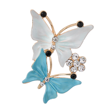 Rhinestones Double Butterfly Brooches Pin Clothing Accessories for Women Party Wedding Fashion Gold-Color Brooch Jewelry Gifts(China)