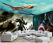 3D photo wallpaper custom room mural non-woven wall sticker Captain United States space TV background wall Painting wallpaper
