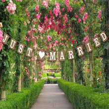 Just Married wedding party decorations photo booth props Wedding Decoration Vintage JUST MARRIED Wedding Banner Photobooth props(China)
