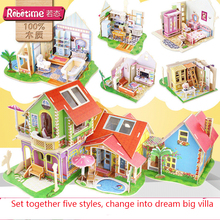 3D Stereo Puzzle Children's Toys Wooden DIY dream house Assembly Model Children Play Training Educational Toys for girl gifts