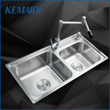 KEMAIDI Kitchen Stainless Steel Sink Vessel Kitchen Washing Dishes Double Bowl SS-98528-4/110 +Brass Swivel Vanity Faucet Sets(China)