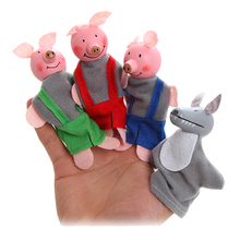 Surwish 4Pcs Soft Plush Three Little Pigs Fairy Tale Finger Puppet Set Children Story Telling Helper Dolls(China)