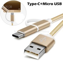 2 in 1 2in1 7mm Type-C Plug with Micro USB Combo Cable USB-C Phone Charger Cabel for Xiaomi redmi pro/Umi z/super/iron/hammer s