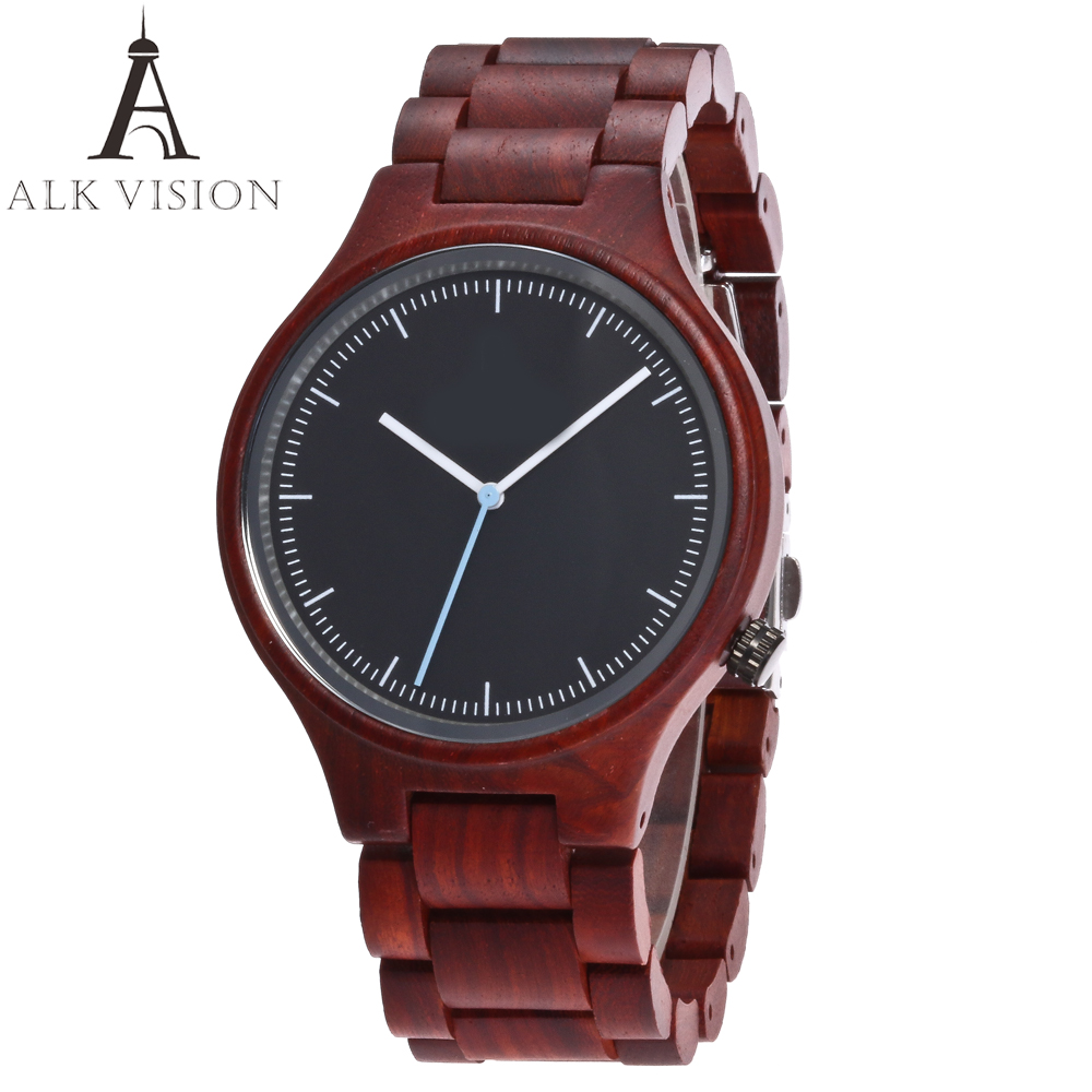 ALK VISION Top Brand Designer Men and Women Wood Watch Red sandal Wooden Quartz Watches fashion casual clock Relogio Masculino<br>