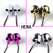 HENA Stereo Metal Skull Earbuds Skeleton Skull In Ear Earphone3.5mm Connector For Halloween Gift With Retail package earphone