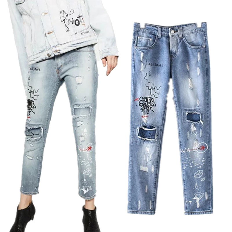 2017 fashion woman light washed ripped jeans pants high waist Distressed female Denim jeans trousers straightjeans denim pantОдежда и ак�е��уары<br><br><br>Aliexpress