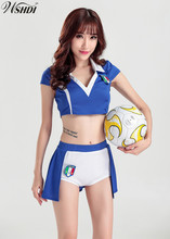Blue Sexy Fantasy Football Cheerleading Costume Soccer Baby Girl Sexy V-neck Cheerleaders Team Sets Outfit Tops and Shorts