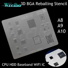 Wrcibo A8 A9 A10 unique groove BGA Reballing Stencil 3D Tin plant net fixed IC Professional for iPhone 6 6s 7 plus CPU HDD WIFI