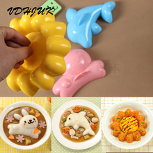 2017 new 4pcs/set Fashion Kitchen Sushi Rice Mold DIY Kit Kawaii Rabbit Dolphins Bento Onigiri Rice Mold Sushi Tool(China)