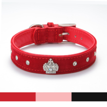 Rhinestones Crown Dog Collar Soft Velvet Material Adjustable necklacePet Dog Cat Collars with 4colors XS S M L XL Free shipping