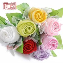 10pcs/lot free shipping Microfiber Fabric Lovers Rose Flower Towel Gift Cake Towels Gifts For Girlfriend Valentine's Day