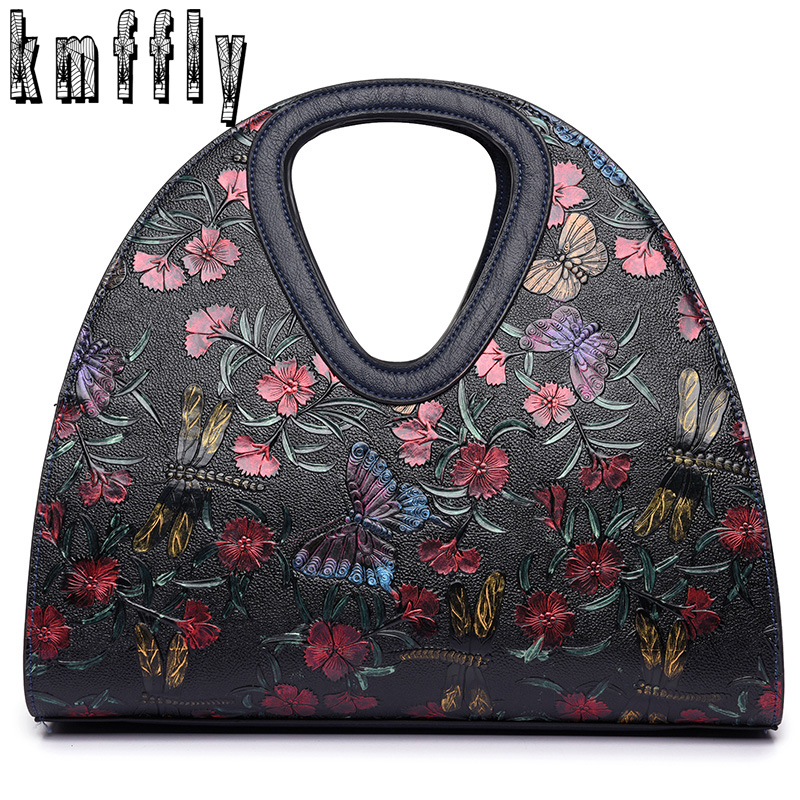 Embroidered butterfly bag Retro Leather bag luxury handbags women bags designer brand ladies hand bag Sac a main femme de marque<br>