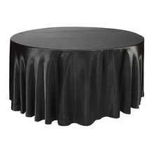 10pcs 275cm Round Satin Tablecloth Table Cover Polyester Table Cloth Oilproof Wedding Party Restaurant Banquet Home Black White(China)