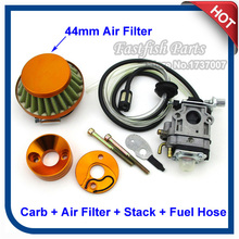 43cc Carb Carby Carburetor & 44mm Gold Air Filter & Velocity Stack & Fuel Hose For 33cc 43cc 49cc Gas Scooter Skateboard