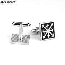 Free Shipping Black Enamel Jewelry Game Accessories Warhammer Chaos Star Cufflink Fashion Vintage Square Brand Cufflinks For Men