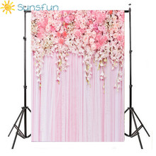 Sunsfun 5x7ft Theme Wedding Backdrops Flower Floral Curtain for Photo Studio Wedding Background Photography HB100