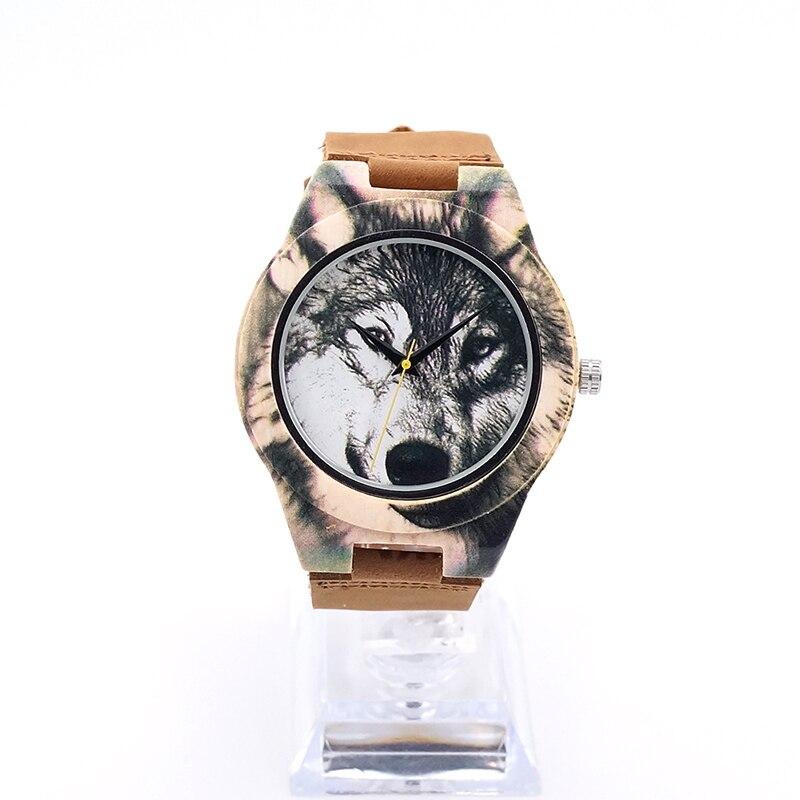 BOBOBIRD J21 Fashion Bamboo Quartz Mens Wristwatch Relogio UV Priting Realistic Wolf Leather Band Watch Top Brand Luxury As Gift<br><br>Aliexpress
