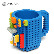 Build-On Brick Mug DIY Bulding Blocks Coffee Mugs 350 ml Creative Drinkware BPA Free mug Birthday Gifts Tazas(China)
