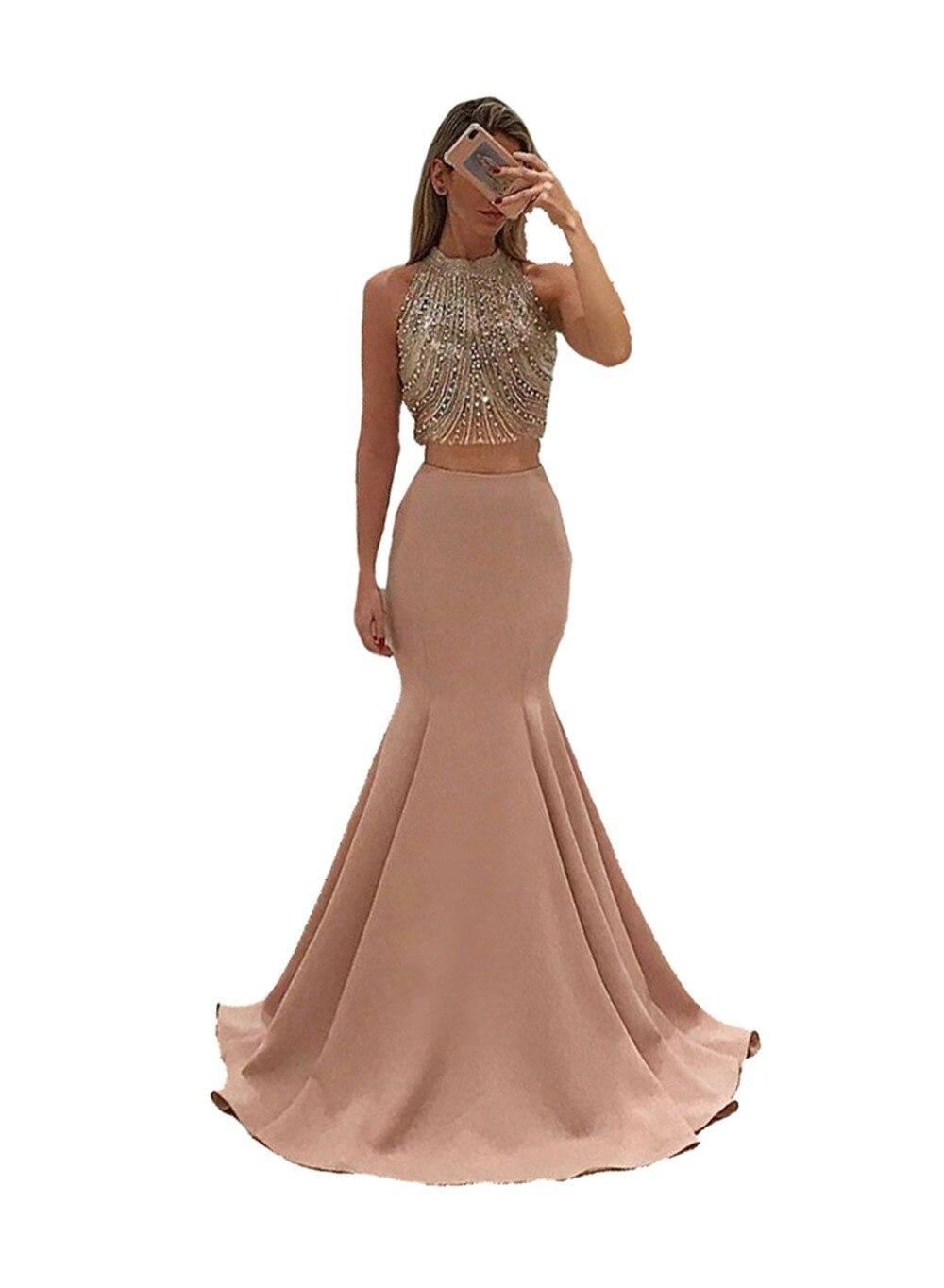 Niesamowite dwa kawałki suknia wieczorowa 2019 O Neck luksusowe długie formalne suknia wieczorowa Plus rozmiar -