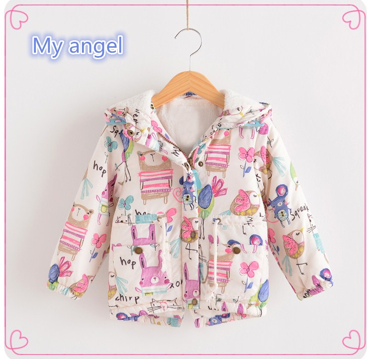 Retail 2017 In the winter next  Classic female baby birds graffiti cotton-padded clothes add wool warm cotton-padded jacketОдежда и ак�е��уары<br><br><br>Aliexpress