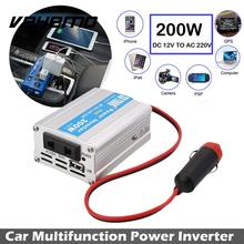 Vehemo 200W Car Power Inverter USB Converter DC 12V To AC 220V Overload Protect Compact(China)