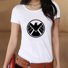 Captain America Shield Summer White Slim Style Graphic Print T shirt Women Tshirt Swag Clothes Tee Top Gift Printed UK Music(China)