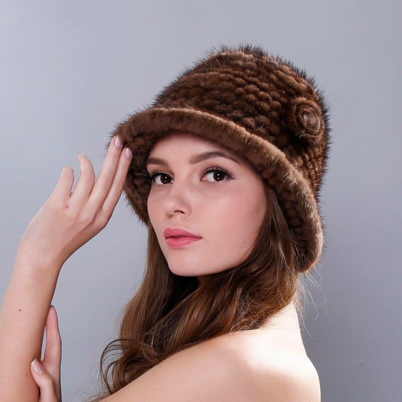 Womens Winter Hats Lined Natural Real Fur Cap New Fur Knitted Cap Women Pineapple Hat Genuine Mink Fur Hat Female WinterÎäåæäà è àêñåññóàðû<br><br>