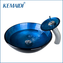 KEMAIDI New Countertop Sinks Blue Victory Round Sinks / Vessel Basins With Waterfall Faucet Bathroom Sink Set With Water Drain(China)
