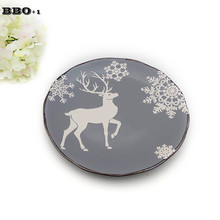 8inch China Bone Ceramic Flat Plates Cartoon Pattern Porcelain Tableware Salad Sushi Cake Dish Christmas Gift(China)