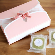 Free shipping bakery package pink white decoration small cookie biscuit box cake macaron packing box candy gift box party favors