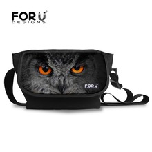 FORUDESIGNS Men Women Casual Messenger Bags Cool Animal Student Large Crossbody Bags Tiger Owl Prints Shoulder Bags For Teenage