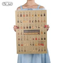 TIE LER Guitar World Vintage Poster Vintage Wallpaper Wall Stickers Home Decor(China)