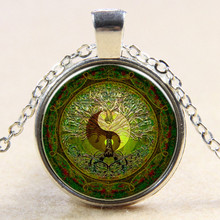 Silver Green Mandala Time Gem Yin and Yang Glass Cabochon Necklace Pendant Y004(China)
